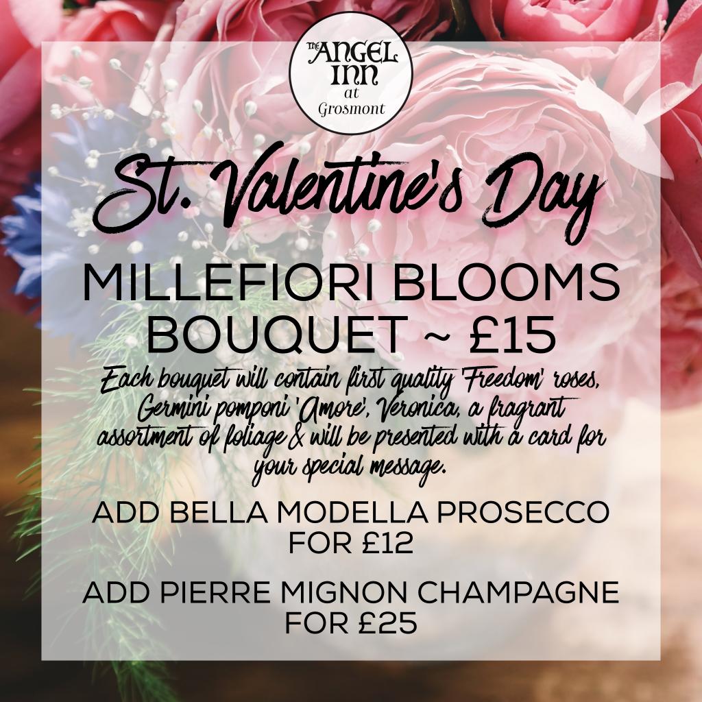 Millefiori Blooms Bouquet - £15, Bella Modella Prosecco £12, Pierre Mignon Champagne £25