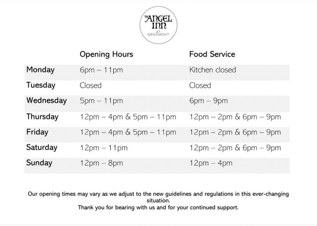 Angel Inn Opening Hours 2021
